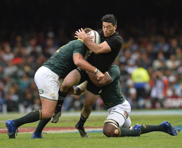 Nehe Milner-Skudder gets tackled in the match between South Africa and New Zealand in Cape Town. Photo: Getty Images