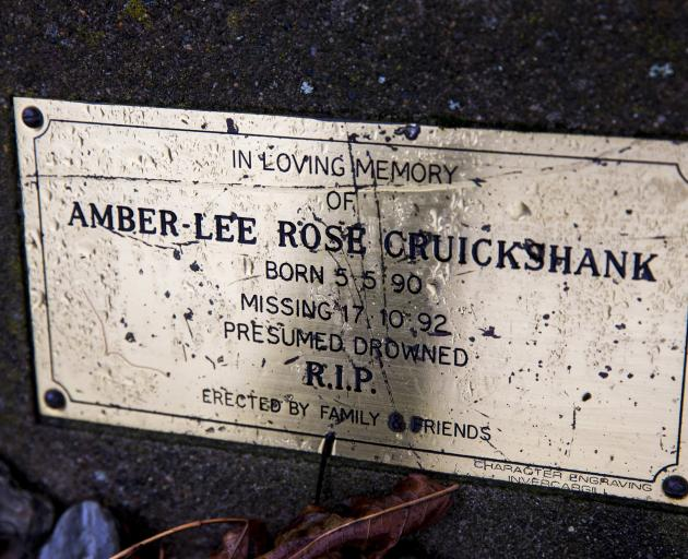 """The memorial plaque to Amber-Lee in Kingston. It reads """"presumed drowned""""."""
