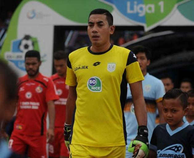 Indonesian goalkeeper Choirul Huda of the Persela Lamongan soccer club. Photo: Antara Foto/Rahbani Syahputra via Reuters