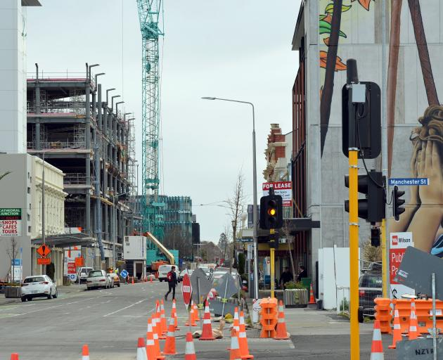 Consent issuance in the key construction areas of Canterbury, Auckland and the Waikato and Bay of Plenty is waning; pictured, Gloucester St in Christchurch last month. Photo: Stephen Jaquiery