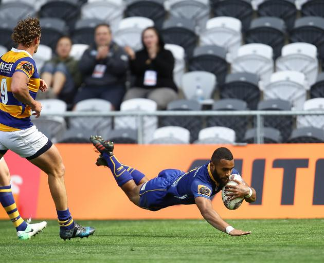 Jona Nareki of Otago scores a try during the round eight Mitre 10 cup match between Otago and Bay of Plenty at Forsyth Barr Stadium. Photo:Getty Images