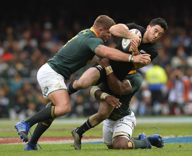 Nehe Milner-Skudder braces for impact in the Rugby Championship test against the Springboks last...