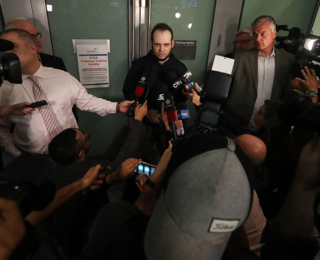 Joshua Boyle leaves after speaking to media. He and his wife Caitlain Coleman and their two sons, 4 and 2, and newborn daughter returned to Canada after being held hostage for five years. Photo: Getty Images