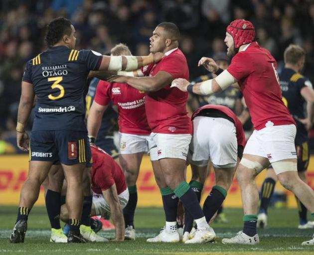 Kyle Sinckler during one of his frequent skirmishes on the 2017 British and Irish Lions tour of New Zealand. Photo: NZ Herald / Brett Phibbs