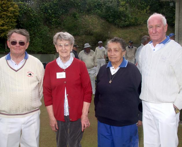 Ken Smeal, Lorraine Swanson, Winnie McLelland and Barry Thompson at the Andersons Bay Bowling Club's centenary at the weekend. Photo: Terry Maguire