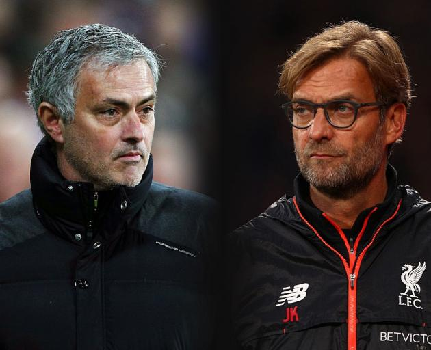 Manchester United manager Jose Mourinho (left) and Liverpool manager Juergen Klopp. Photo: Getty...
