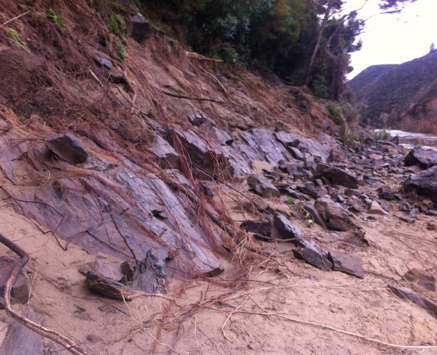 Damage to the Outram Glen to Lee Stream walking track caused by the floods in July. PHOTO: SUPPLIED