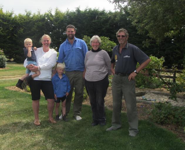 Otago Ballance Farm Environment Awards finalists (from left) Bede, Sarah, Hugo, Simon, Eris and...