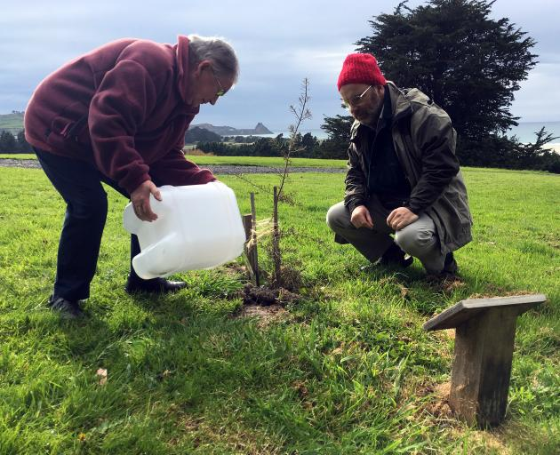Eleanor Dowden, with son Peter, waters a totara tree planted at her husband Richard's natural burial site at Green Park Cemetery in Westwood. PHOTO: SHAWN MCAVINUE