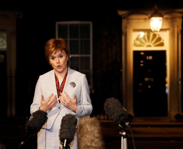 Nicola Sturgeon speaks to media after meeting with Britain's Prime Minister Theresa May in London...