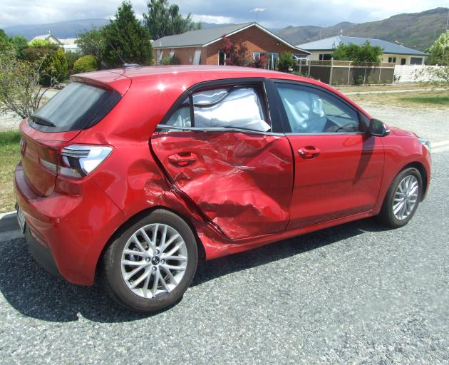 A car was severely damaged after a crash in Clyde this afternoon. Photo: Tom Kitchin
