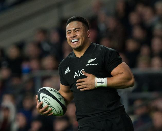 Asafa Aumua in action for the All Blacks against the Barbarians in his test debut at the weekend....