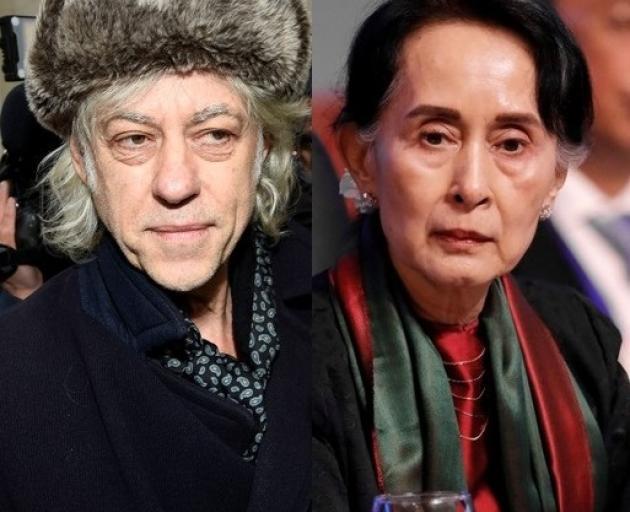 Bob Geldof and Aung San Suu Kyi. Photos: Reuters