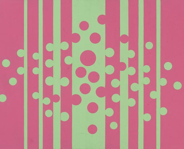 Green and Pink, 1967, by Gordon Walters. Gouache on paper. Collection of the Dunedin Public Art Gallery. Given to the gallery in 2016 by the Gordon Walters Estate.