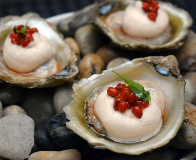 Ngai Tahu Bluff oysters with karamu berry mignonette foam and pickled karamu berries.