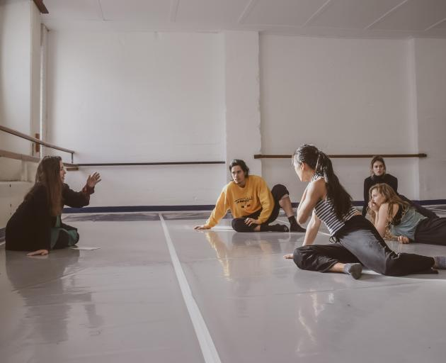Sarah Foster-Sproull works with the Footnote dancers on her latest piece, Super Ornate Construct. Photos: Supplied
