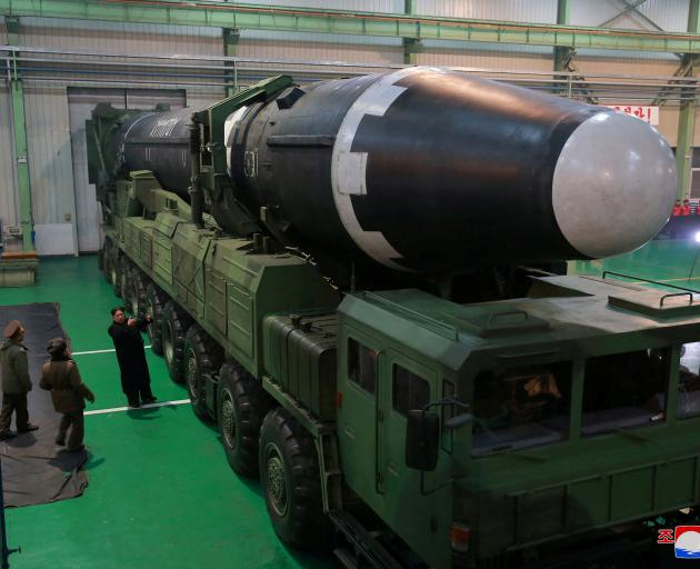 The North Korean intercontinental ballistic rocket Hwasong-15. Photo: KCNA via Reuters