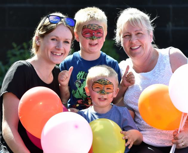 Helping celebrate the Mosgiel Central Kindergarten's 70th birthday yesterday are (from left) Sarah, Tristan and Kieran Hayward (front) and Nicola Ralph. Photo: Peter McIntosh