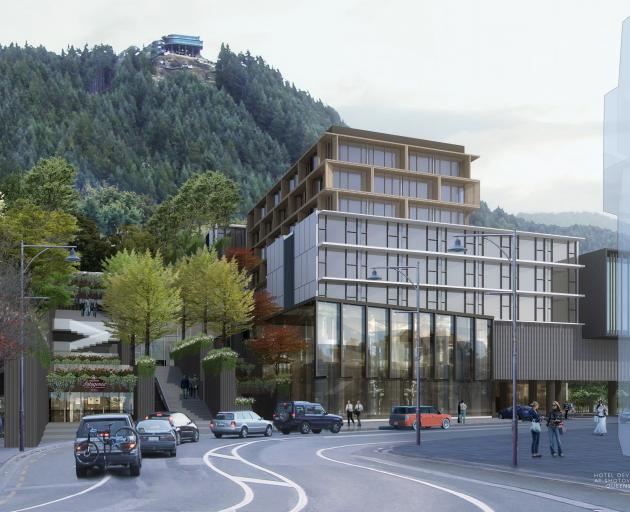 An artist's impression of a hotel and retail complex facing Shotover St. Image: Supplied