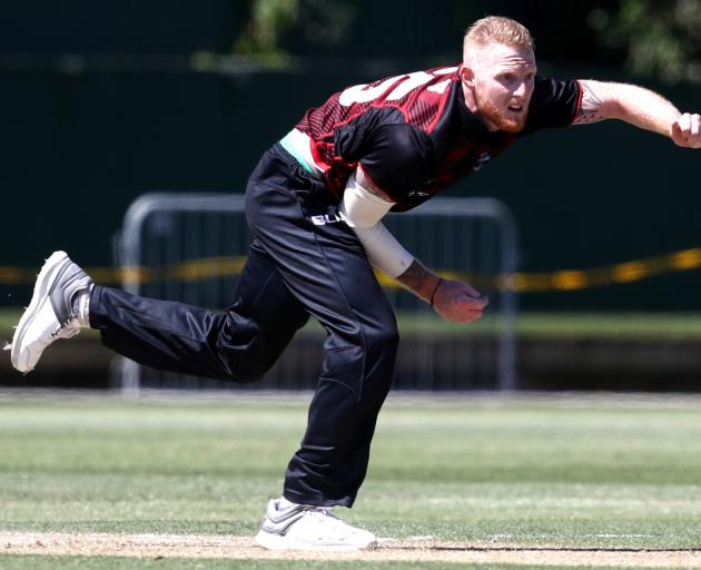 Ben Stokes bowls for Canterbury against Auckland yesterday. Photo: Getty Images