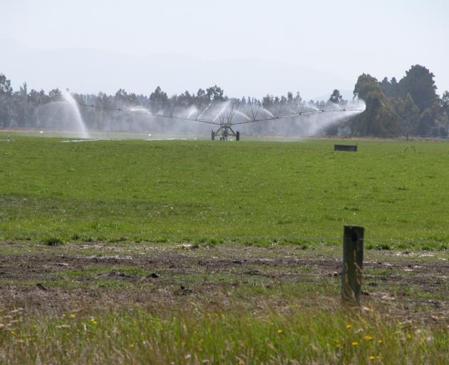 Travelling irrigator on the Waitaki Plains. Photo: File.