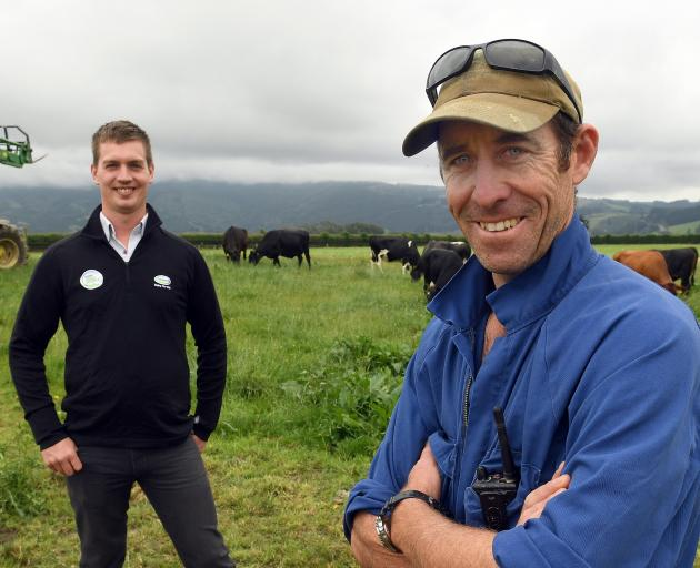 Fonterra Otago area manager Gregor Ramsay (left) and Outram farmer Duncan Wells prepare for the ``open gates'' event on Sunday. Photo: Stephen Jaquiery