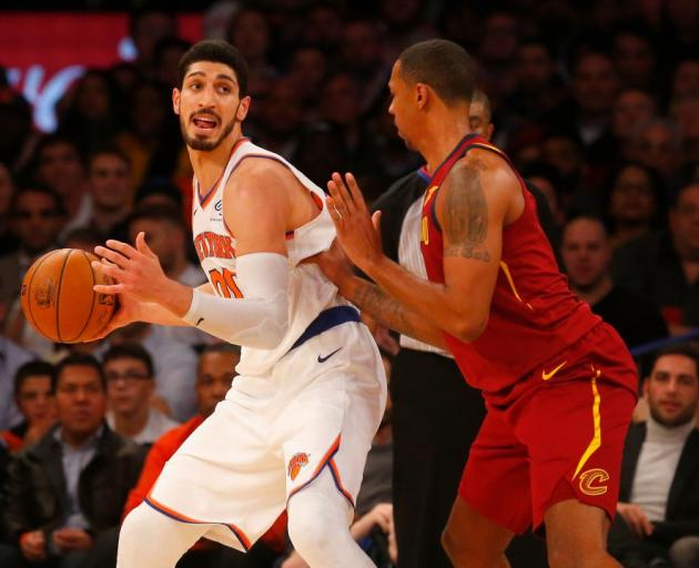 Wanted New York Knicks big man Enes Kanter posts up against the Cleveland Cavaliers. Photo: Getty...