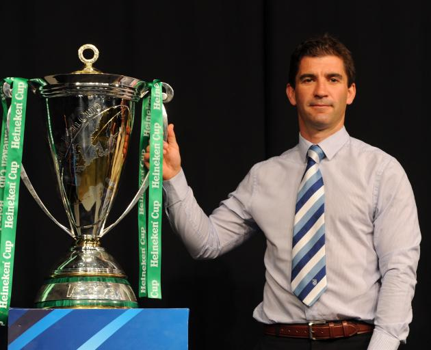 Cardiff Blues' coach Gareth Baber poses during the launch of the Heineken Cup and Amlin Challenge Cup season launch at Sky news studios, London (Photo by Anthony Devlin/PA Images via Getty Images)