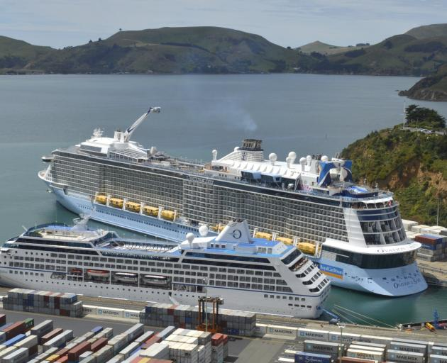 Events and the cruise ship season are all contributing to an upswing in the southern services sector; pictured are cruise  ships Regatta (foreground) and Ovation of the Seas at Port Chalmers last week. Photo: Gerard O'Brien