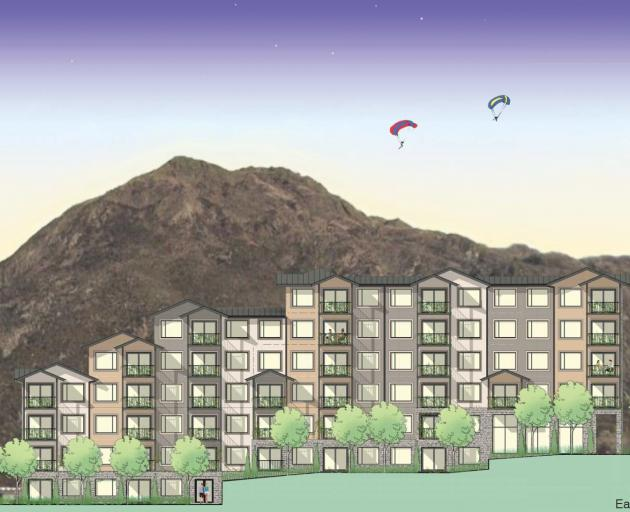 An artist's impression of one of three Remarkables Park Apartments, with Deer Park Heights in the...