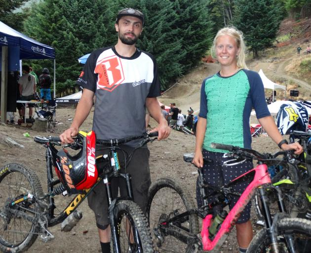 Pete Robinson and Eva Dethlefsen after the Through the Loop Enduro race in Queenstown on Saturday...
