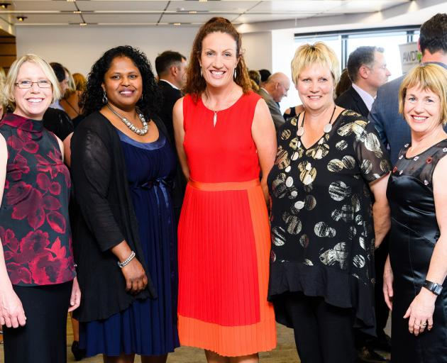 Agri-Women's Development Trust Escalator graduate Anne-Marie Wells (left) with (from left) Otago...