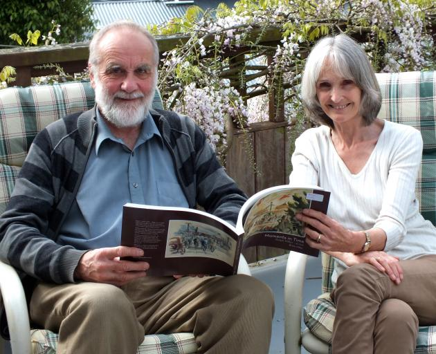 Self-publishers Brian and Diane Miller with Moments in Time, Brian's biography of his artist...
