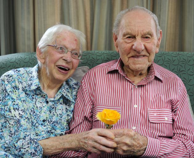 Lillian and Eric Brinsdon, of Mosgiel, celebrate 80 years of marriage at the Taieri Court...