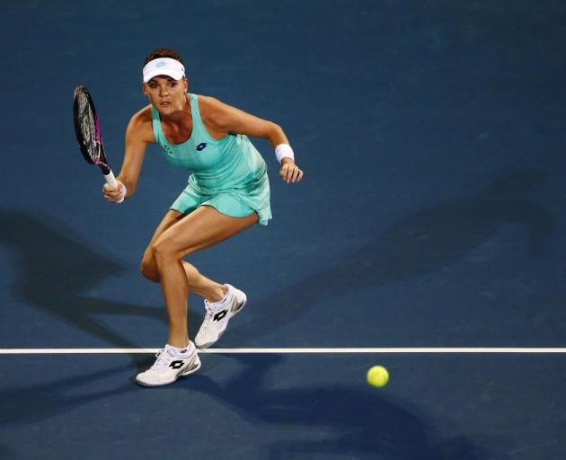 Agnieszka Radwanska plays a shot at the ASB Classic last night. Photo: Getty Images