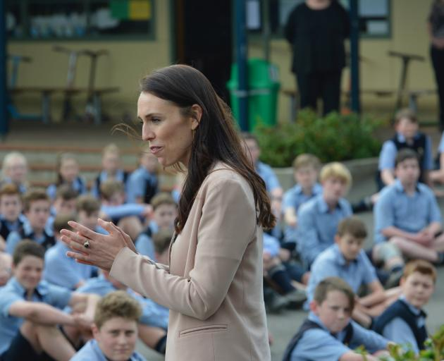 Jacinda Ardern speaks to pupils at Taieri College. Photo: Gerard O'Brien