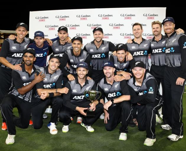 The Black Caps celebrate after beating the West Indies in the final twenty20 to claim the series...
