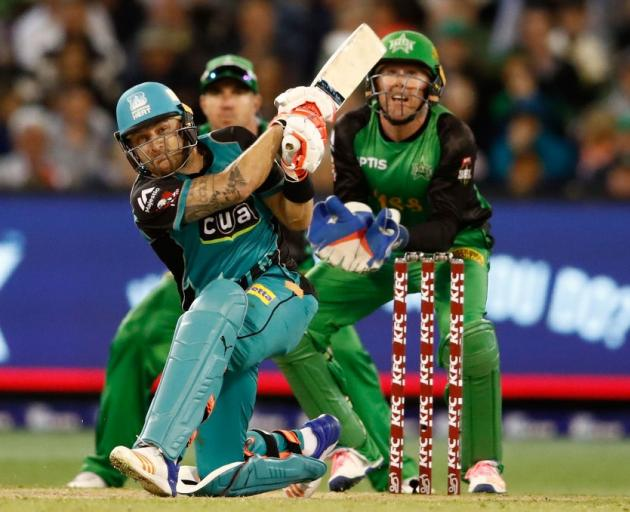 Brendon McCullum plays a shot for the Brisbane Heat against the Melbourne Stars last night. Photo...