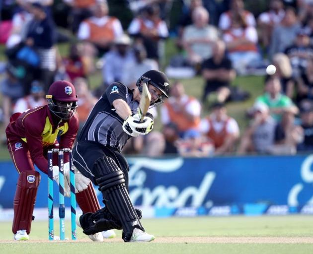 New Zealand's Colin Munro during his century which included 10 sixes against the West Indies last...