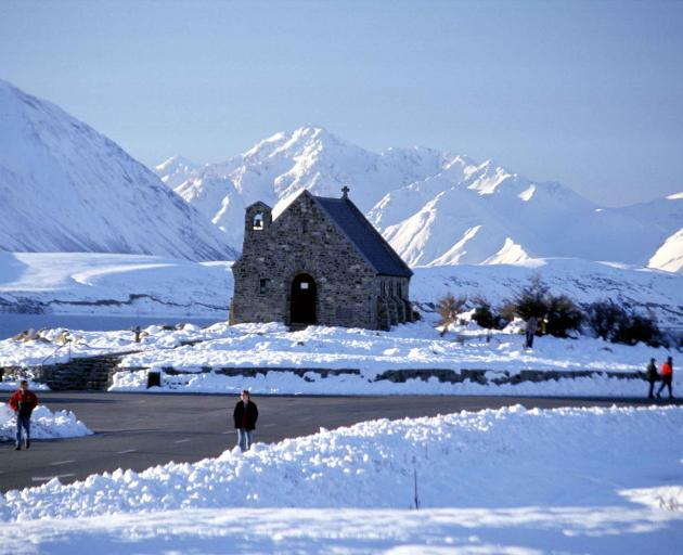 Lake Tekapo, site of the Church of the Good Shepherd, recorded the country's lowest air...