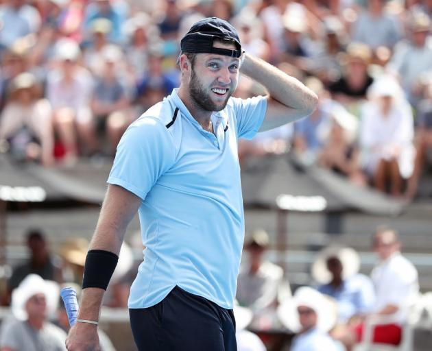 Jack Sock of USA reacts to a call in his second round match against Peter Gojowczyk of Germany during day three of the ASB Men's Classic. Photo: Getty Images