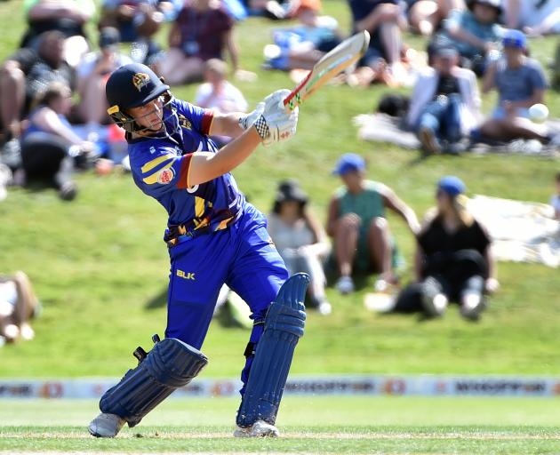 Otago new cap Llew Johnson holes out for seven during the Volts twenty20 match against Northern Districts at the University Oval yesterday. Photo: Peter McIntosh