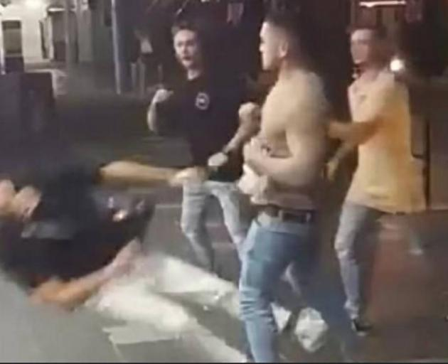 Caleb Maraku knocks out 19 year old Taliesin O'Meara outisde a nightclub in Surfers Paradise in November 2017. Photo: NZ Herald/ supplied