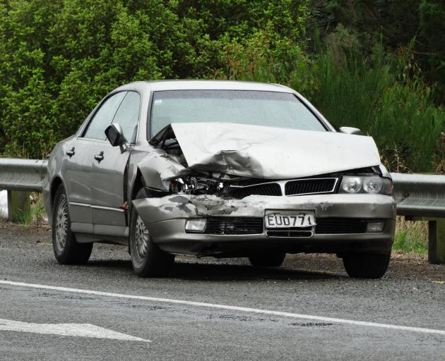 A crash north of Oamaru closed SH1 for about 15 minutes this morning. Photo: Daniel Birchfield