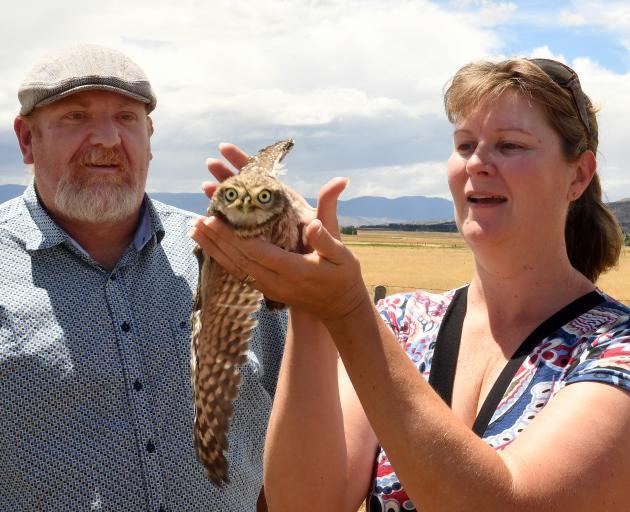 Ida Valley woman Rochelle Drury and North Canterbury bird rehabilitator Scott Bowman prepare to...