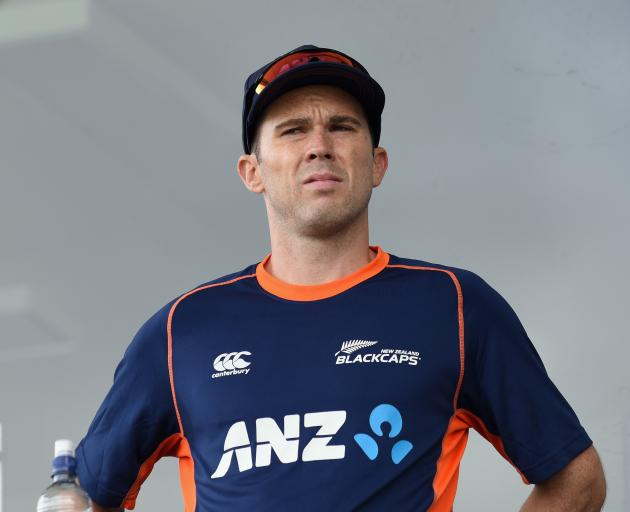Todd Astle of New Zealand looks on prior to the One Day International match between New Zealand...