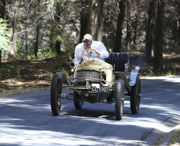 Allan Dippie, of Dunedin, races his 1907 Sizaire et Naudin at the Leadfoot Festival at Hahei, in the Coromandel, in February last year. Photo: Supplied