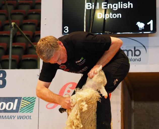 Prime Minister Bill English beat shearing legend Sir David Fagan in a one-sheep-match. Photo:...