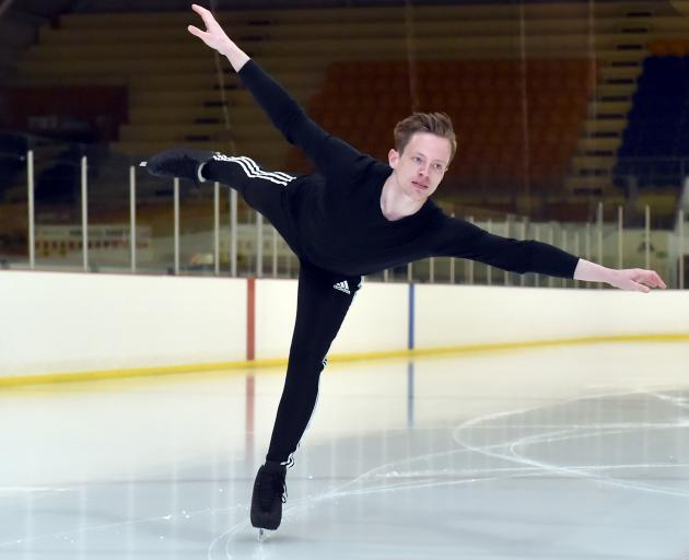 Swedish ice skater Daniel Marklund carries out a spiral at the Dunedin Ice Stadium yesterday....