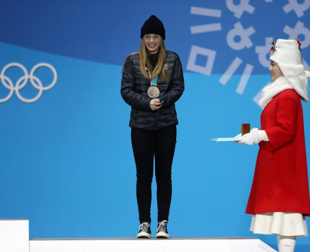 Zoi Sandowski-Synnott after receiving her bronze medal. Photo: Getty Images